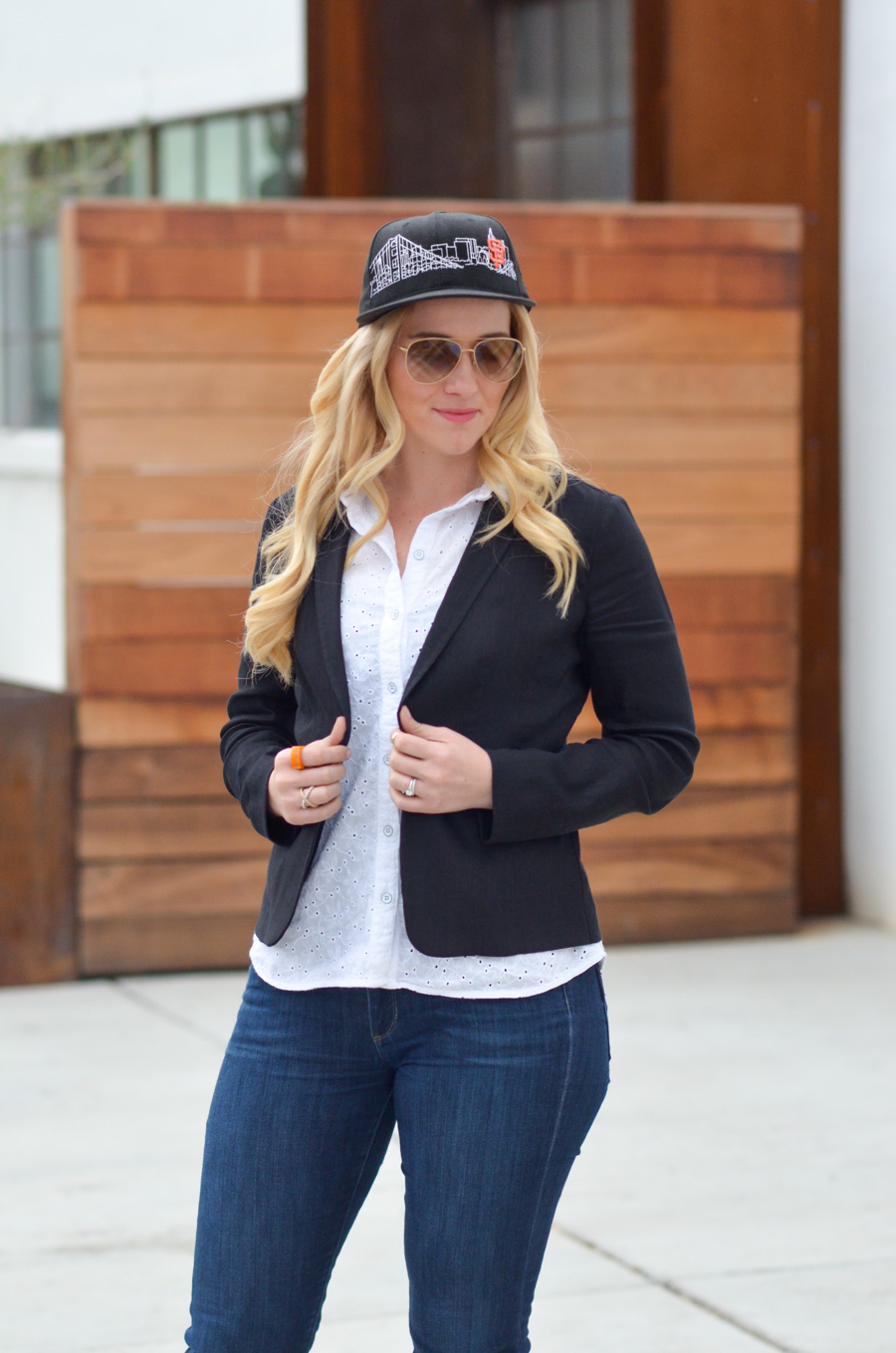 Chic Baseball Game Outfit for Women - SF Giants Skyline Hat