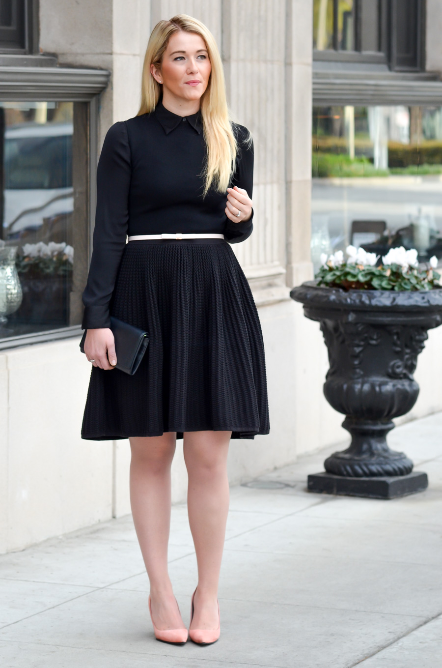 Button Front Shirt Under Dress Outfit