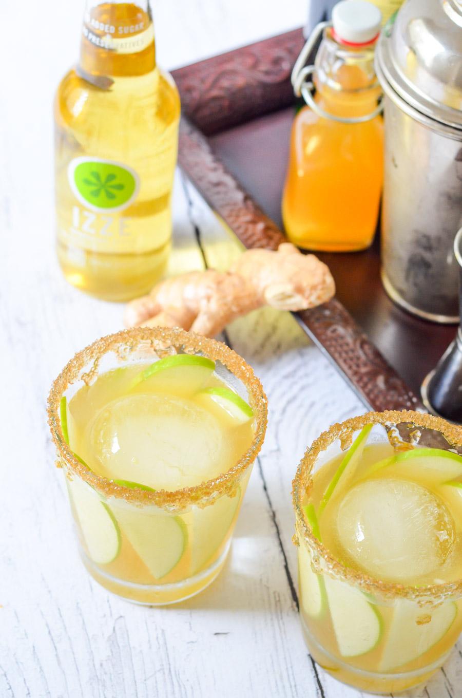 Irish Whiskey Cocktail Recipe w. IZZE Sparkling Apple, Fresh Ginger, + Honey