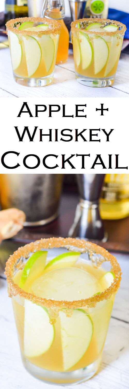 Apple + Whiskey Cocktail with Honey Sugar Rim. Easy Fall, Winter drink and a perfect St. Patrick's Day Cocktail. #LMrecipes #cocktail #whiskey #whisky #bourbon #cocktailrecipe #mixology #bartender #stpatricksday #stpaddysday #partytime #apples #foodblog #foodblogger