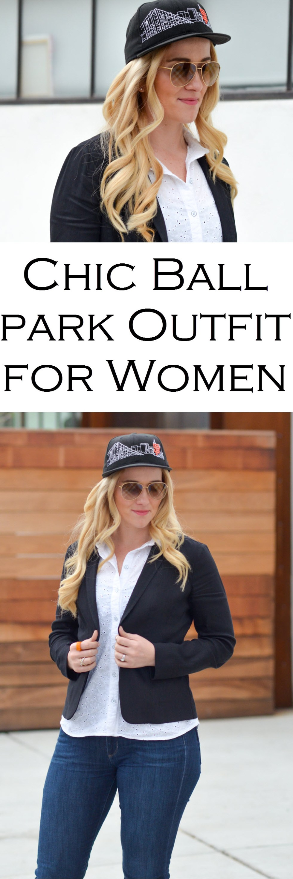 Chic Baseball Game Outfit for Women to wear to the Ballpark - SF Giants Skyline Hat