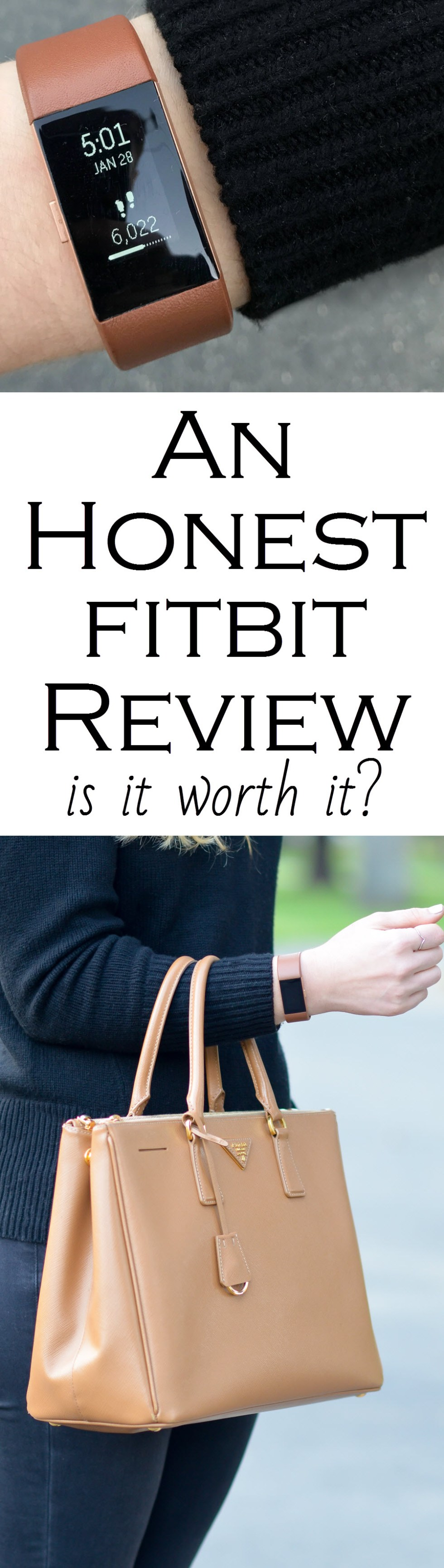 Honest FitBIt Review. Chic outfit photos with fitbit charge 2 with brown leather band.