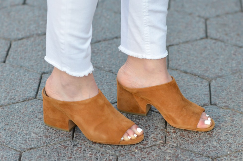 Peep Toe Mules Outfit | White Skinny Jeans + Button Down Shirt
