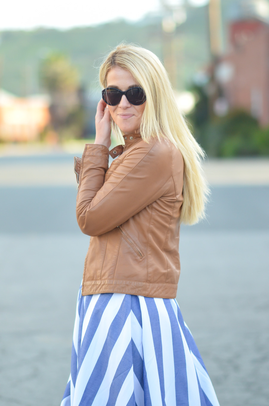 Brown Leather Jacket and Stripe Dress with Pockets