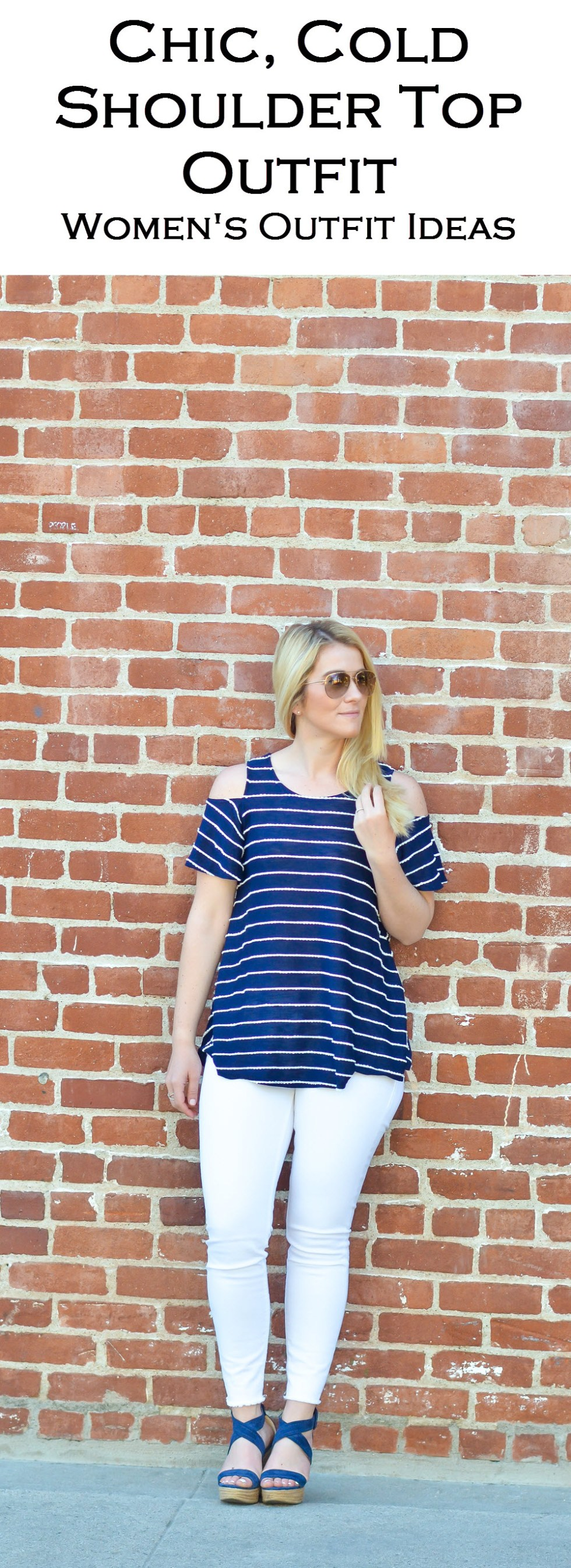 Striped Cold Shoulder Top Outfit with White Skinny Jeans + Wedges. Cute spring/summer outfit for women with a nautical vibe.