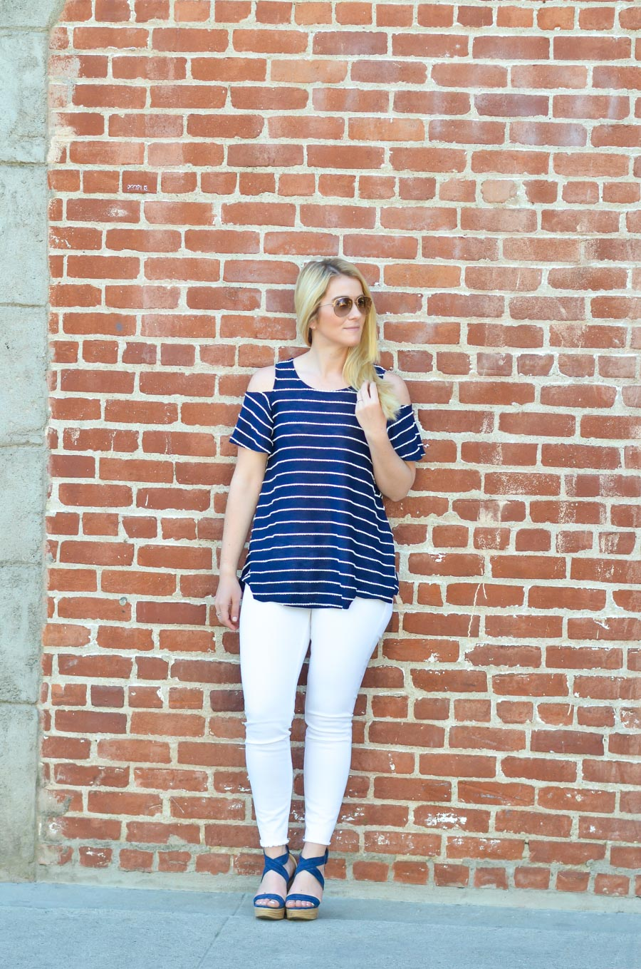 Striped Cold Shoulder Top Outfit with Jeans