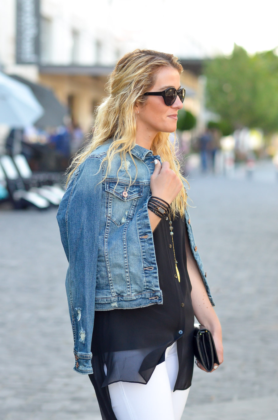 Black Top with White Jeans and Denim JacketOutfit