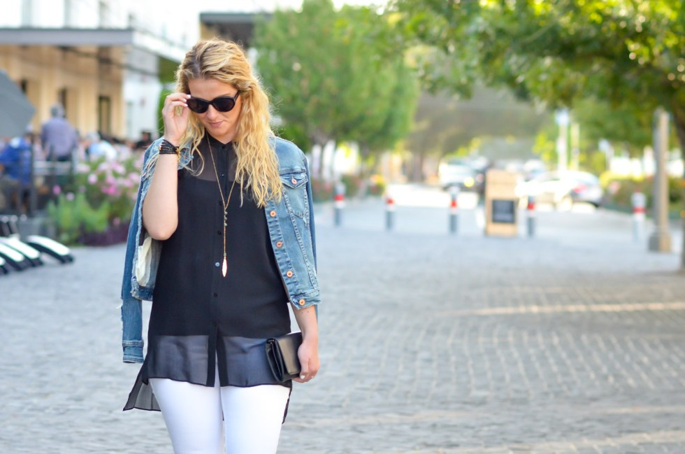 Black Top and White Jeans Outfit