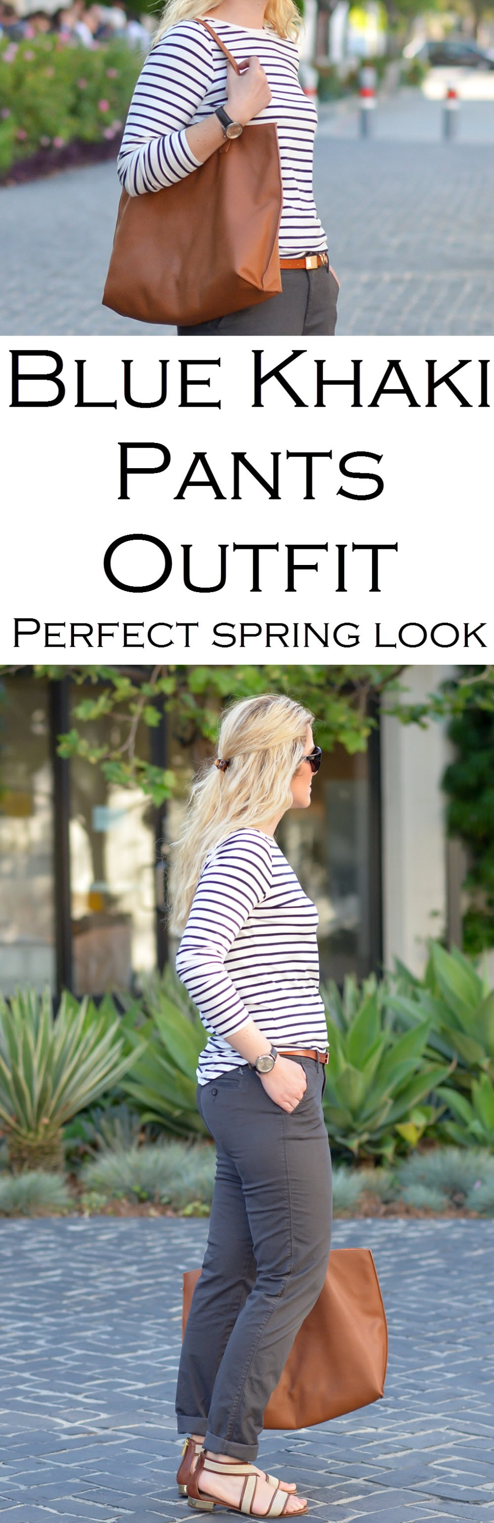 Blue Khaki Pants Outfit for Women - Spring Outfit Ideas. Striped long sleeve shirts make the perfect casual, chic look for women..
