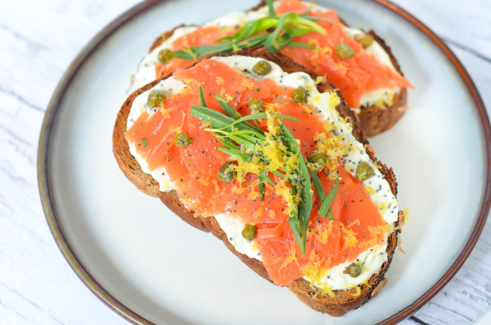 Easy Smoked Salmon Tartine - Lox and Goat Cheese Toasts