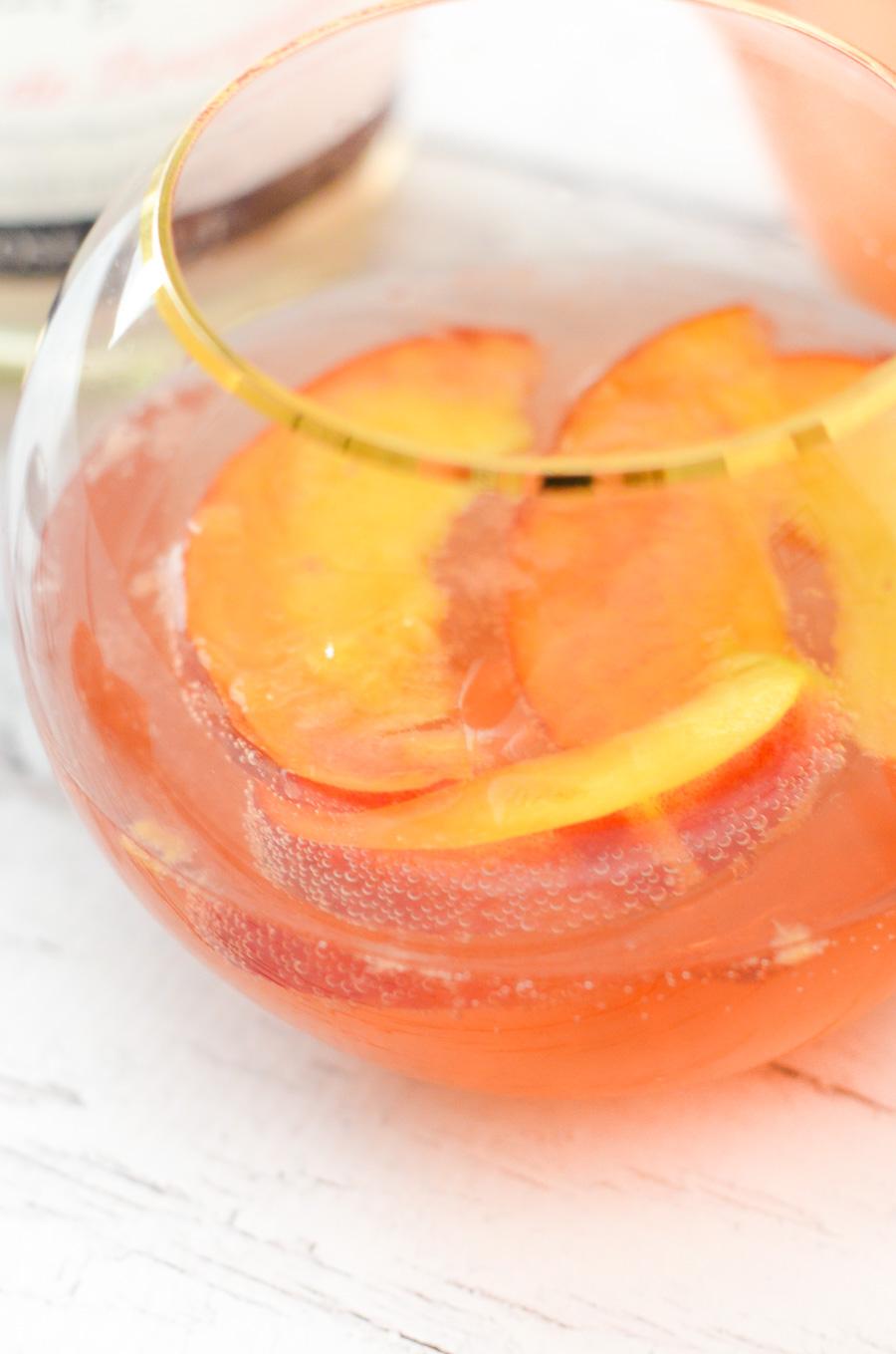 Nectarine Sparkling Rose Sangria w. Ginger + Orange Liqueur