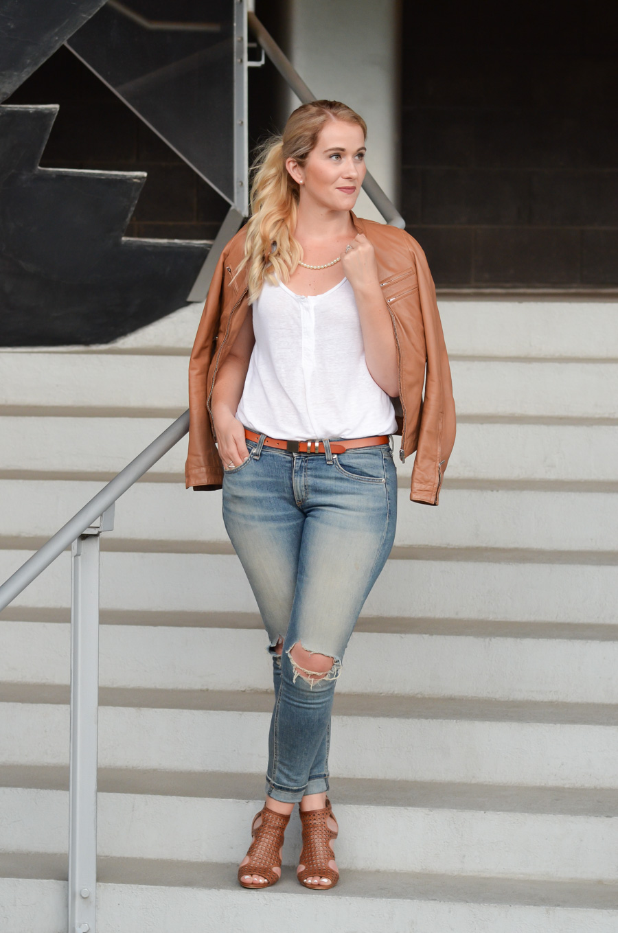 Leather Jacket w. Pearls and Ripped Skinny Jeans-1