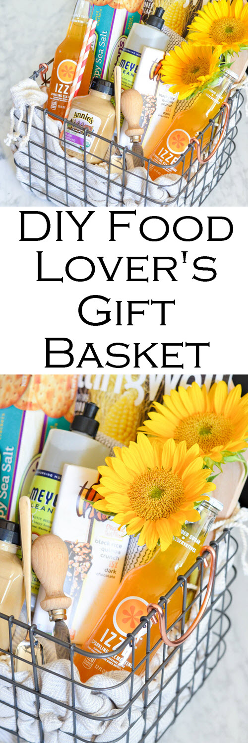 National Best Friend's Day - DIY Food Lover's Gift Basket. DIY Food Lover's Gift Basket w. IZZE drinks, magazines, crackers, spread, flowers, chocolate, etc.! Perfect Homemade Best Friend Gift Idea! #homemade #gifting #gifts #diy #foodie #hostess #hosting #foodlover