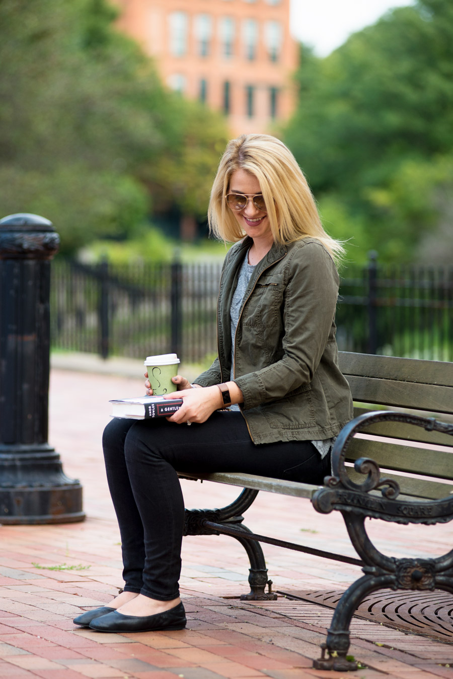 Black Skinny Jeans + Olive Green Military Jacket - Fall 2017 Outfit Ideas for Women over 30