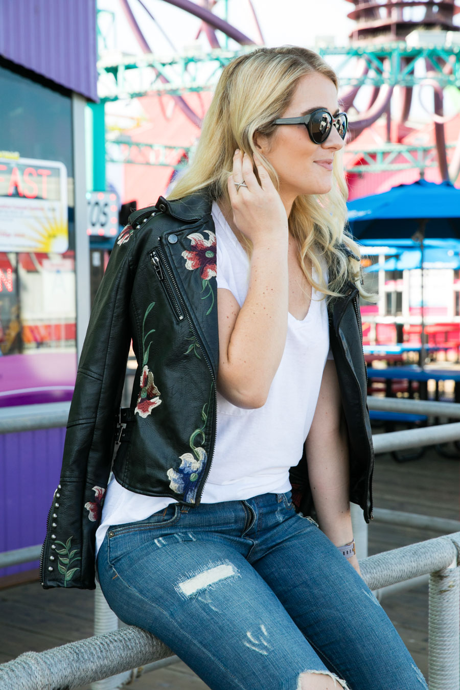 Casual Embroidered Leather Jacket Outfit w. Distress Jeans for Fall