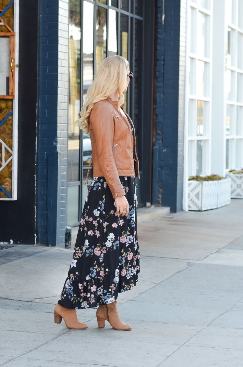Leather Jacket + Wrap Dress w. Suede Boots Fall Outfit