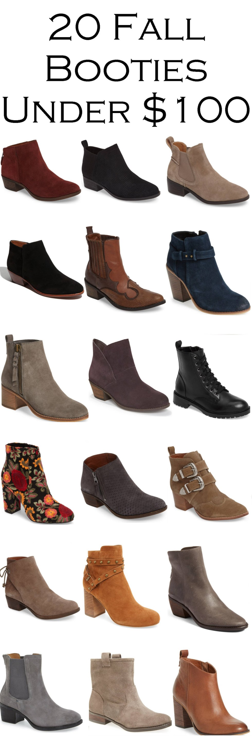 2017 Fall Booties Under $100