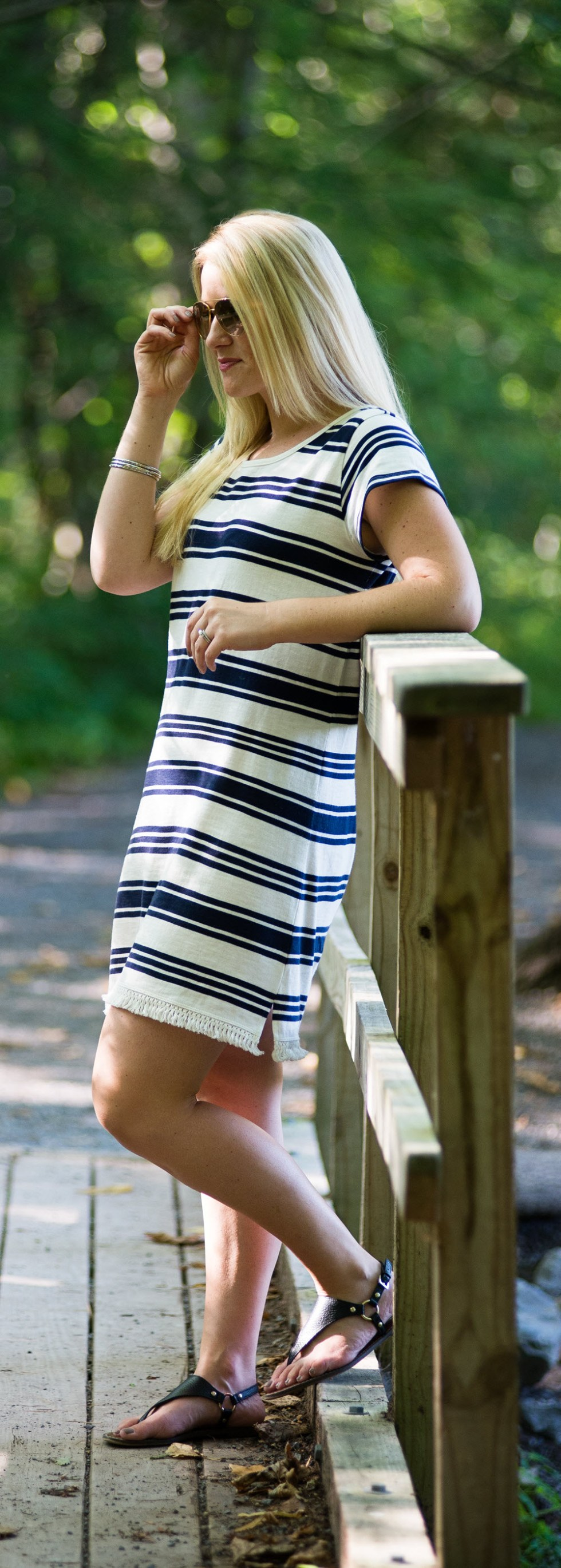 Blue + White Stripe Joie Dress w. Flat Sandals. Green Lakes State Park - What to Do in Syracuse, NY Travel Guide