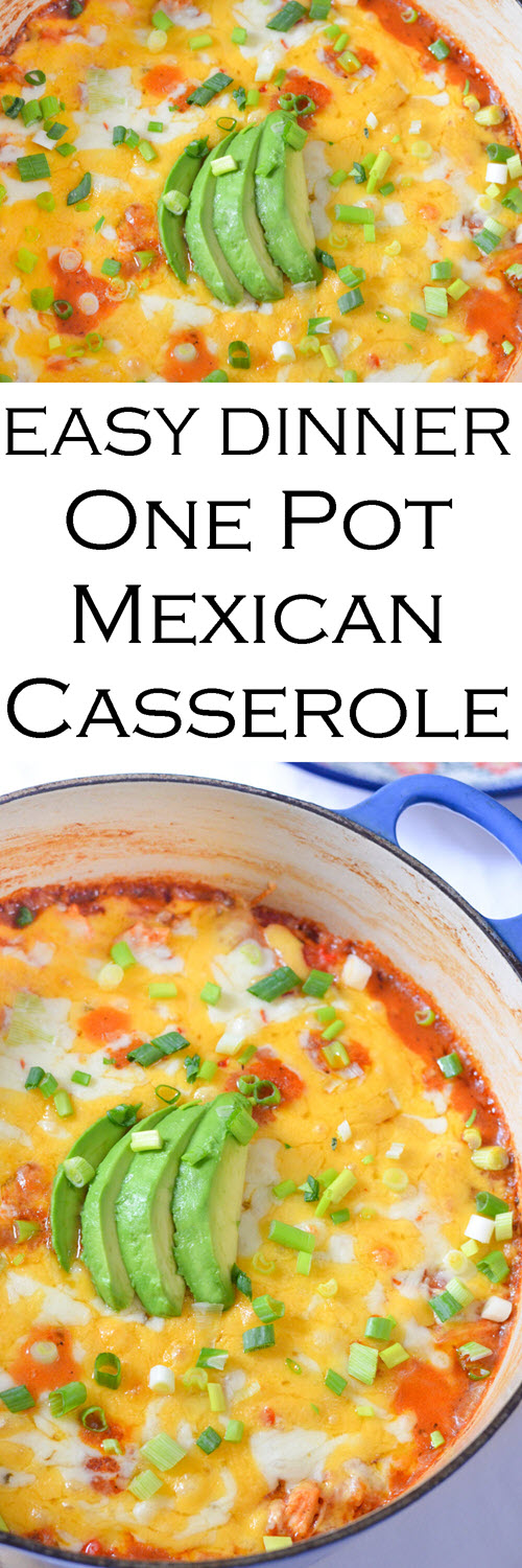 One Pot Mexican Casserole Weeknight Dinner w. Shredded Chicken and Rice/Quinoa. A great weeknight dinner that uses up leftover chicken, rice, and quinoa. #LMrecipes #dinner #dinnerrecipe #onepot #easyrecipe #mexicanfood #casserole #weeknightmeal #foodblog #foodblogger