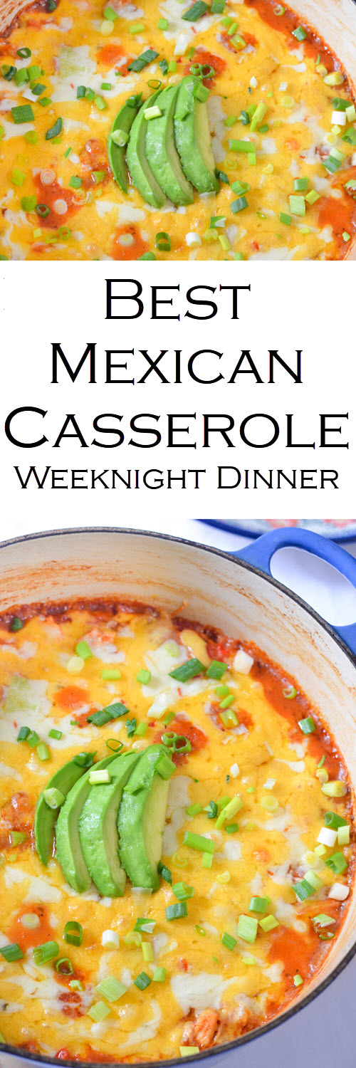 The Best Mexican Casserole Weeknight Dinner w. Shredded Chicken and Rice/Quinoa. A great one pot weeknight dinner that uses up leftover chicken, rice, and quinoa. #LMrecipes #dinner #dinnerrecipe #onepot #easyrecipe #mexicanfood #casserole #weeknightmeal #foodblog #foodblogger