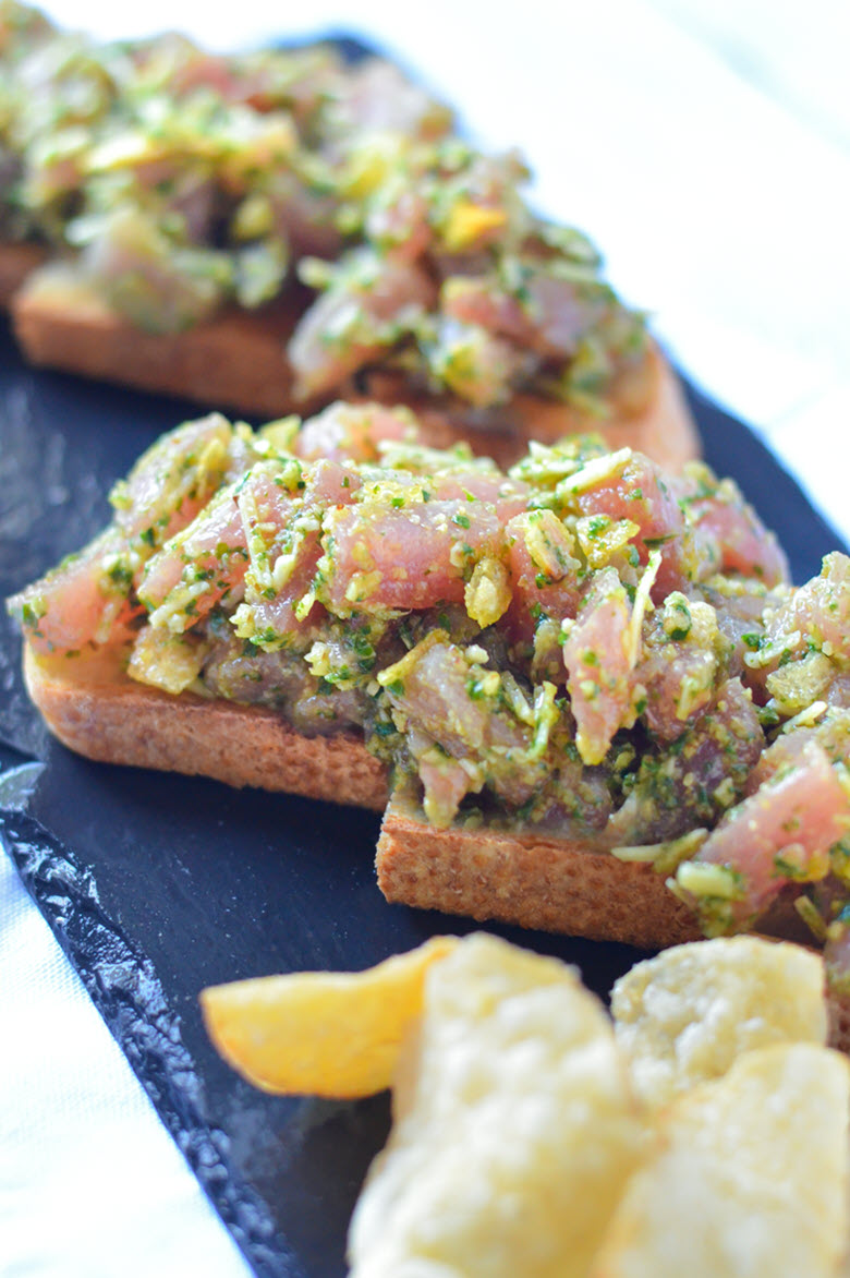 Tuna Tartare Tartine + The Secret to Perfect Pesto