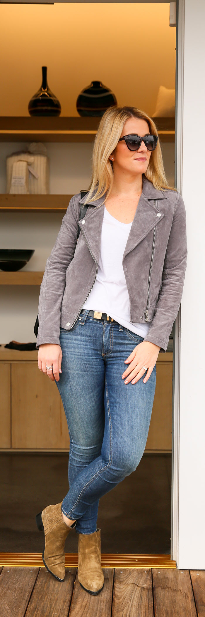 Grey Suede Moto Jacket Outfit at LIDO Newport Beach | Luciu0026#39;s Morsels