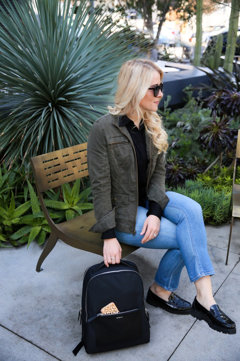 Backpack Outfits for Stylish Women - Cropped jeans + Loafers