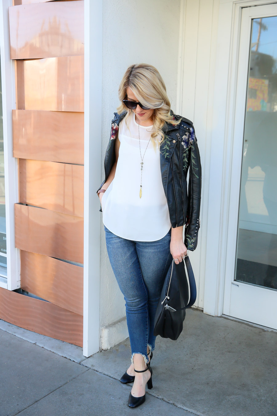 Last Minute Date Night Embroidered Leather Jacket Outfit