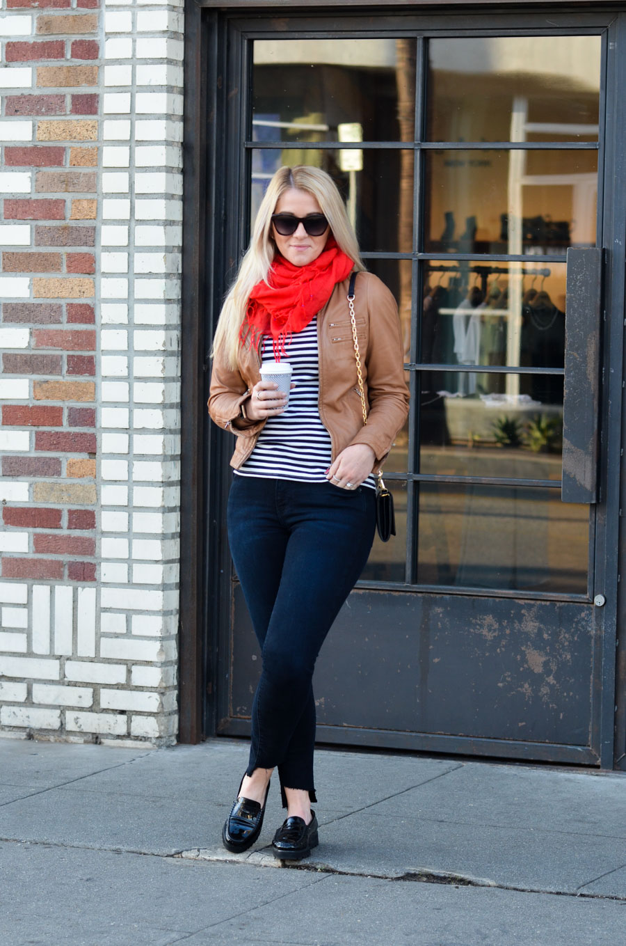 French Style Leather Jacket Outfit with Striped Tee + Skinny Jeans