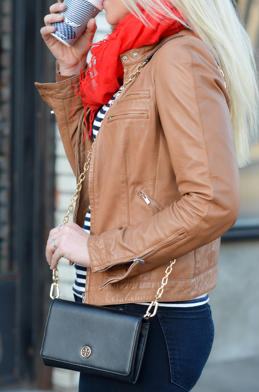 French Style Leather Jacket Outfit with Striped Tee + Tory Burch Crossbody Wallet