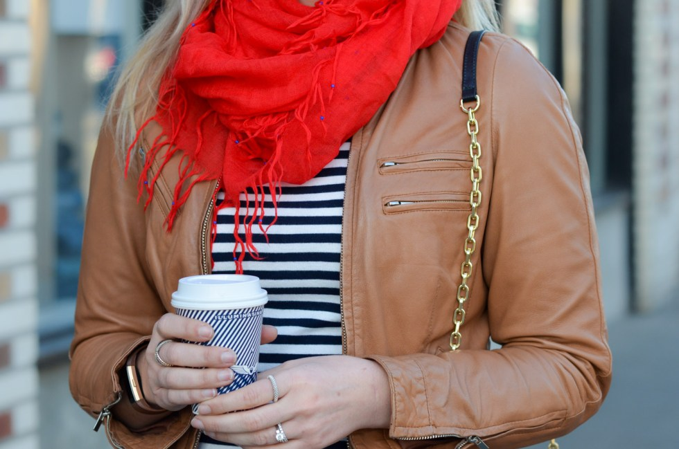 French Style Leather Jacket Outfit with Striped Tee + Red Scarf
