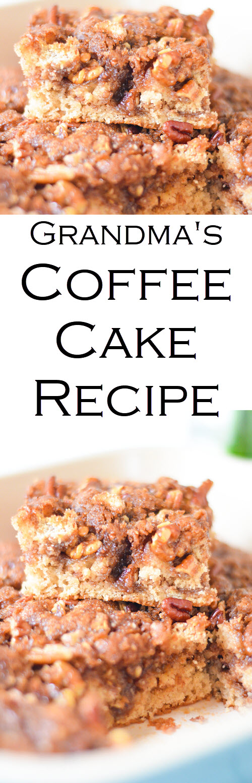 Homemade Cinnamon Streusel Coffee Cake Recipe - Grandma's Coffee Cake Recipe #recipe #lmrecipes #foodblog #foodblogger #coffeecake #streusel #breakfast #brunch #baking #cinnamonrecipes
