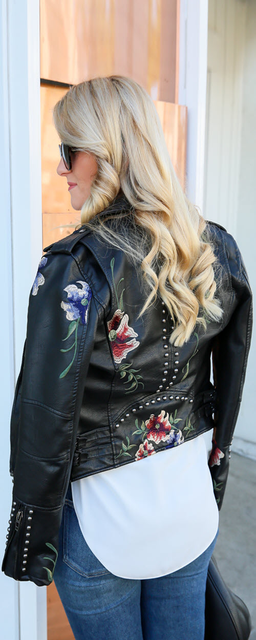 Last Minute Date Night Embroidered Leather Jacket Outfits. Easy outfit with jeans and heels for women over 30. #fashionblog #fashionblogger #style #outfitideas #outfitshare #jeans #leatherjacket #losangeles #lablogger #embroidered #fashionicon #fashionable #womenover30
