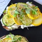 Ricotta Toast with Zucchini + Yellow Squash