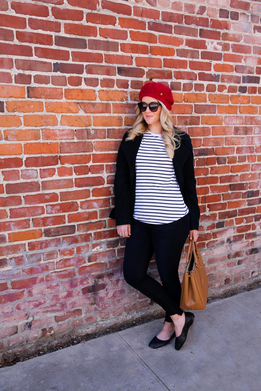 Red Beret Outfit with Striped Shirt