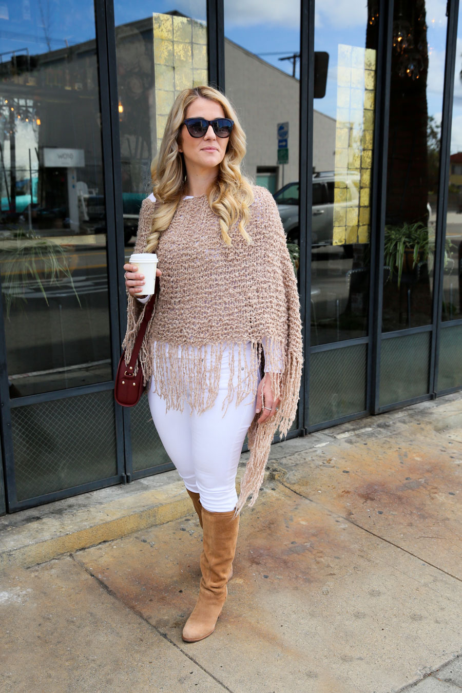 Knit Poncho Outfit w. White Jeans + Boots