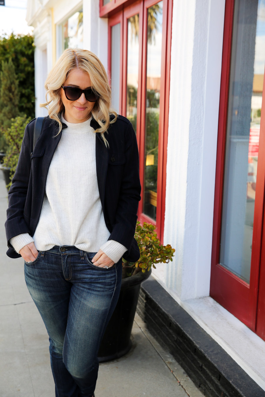 Layering Clothes - White Turtleneck Sweater Outfit with Jeans