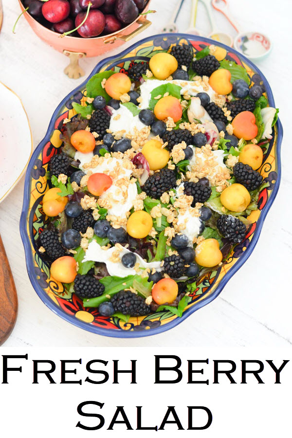 Berry Salad Recipe. Blackberry, Blueberry, Cherry Burrata Breakfast Salad Recipe. A healthy and delicious salad for brunch or lunch with friends. An easy fruit salad with lettuce and burrata.