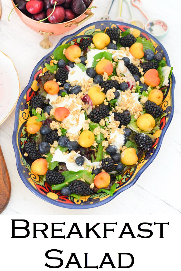 Breakfast Salad Recipe. Blackberry, Blueberry, Cherry Burrata Breakfast Salad Recipe. A healthy and delicious salad for brunch or lunch with friends. An easy fruit salad with lettuce and burrata.