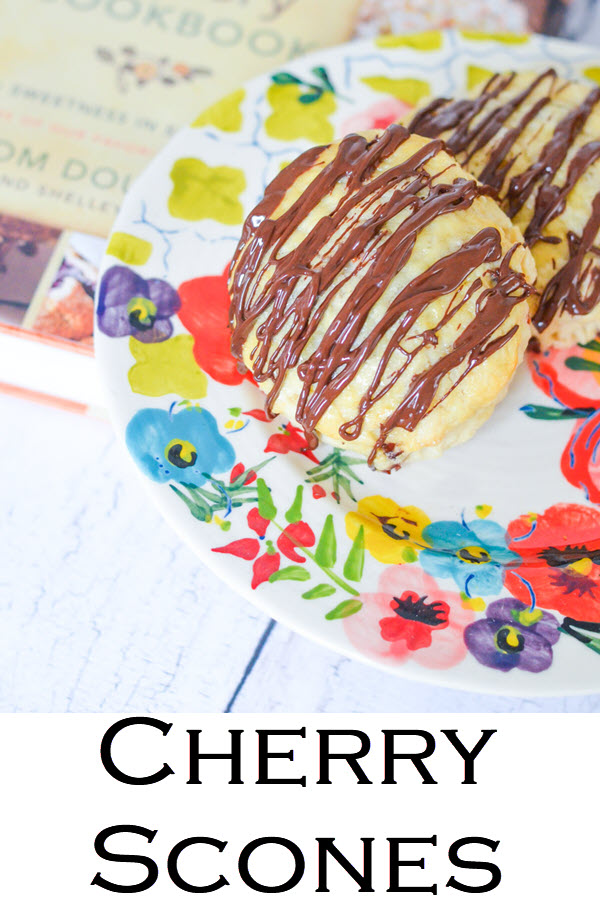 Cherry Scones. Dahlia Bakery Cherry Almond Scones w. Rich Chocolate Drizzle. #recipeblog #breakfast #brunch #scones #lmrecipes