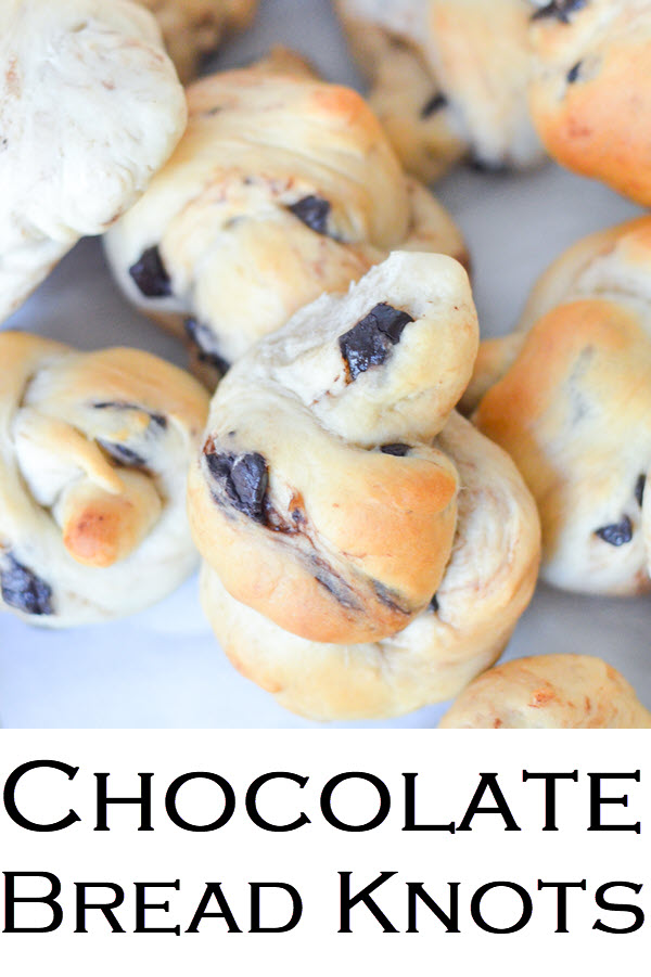 Chocolate Bread Knots. Yummy Breakfast rolls + chocolate chunk recipe.