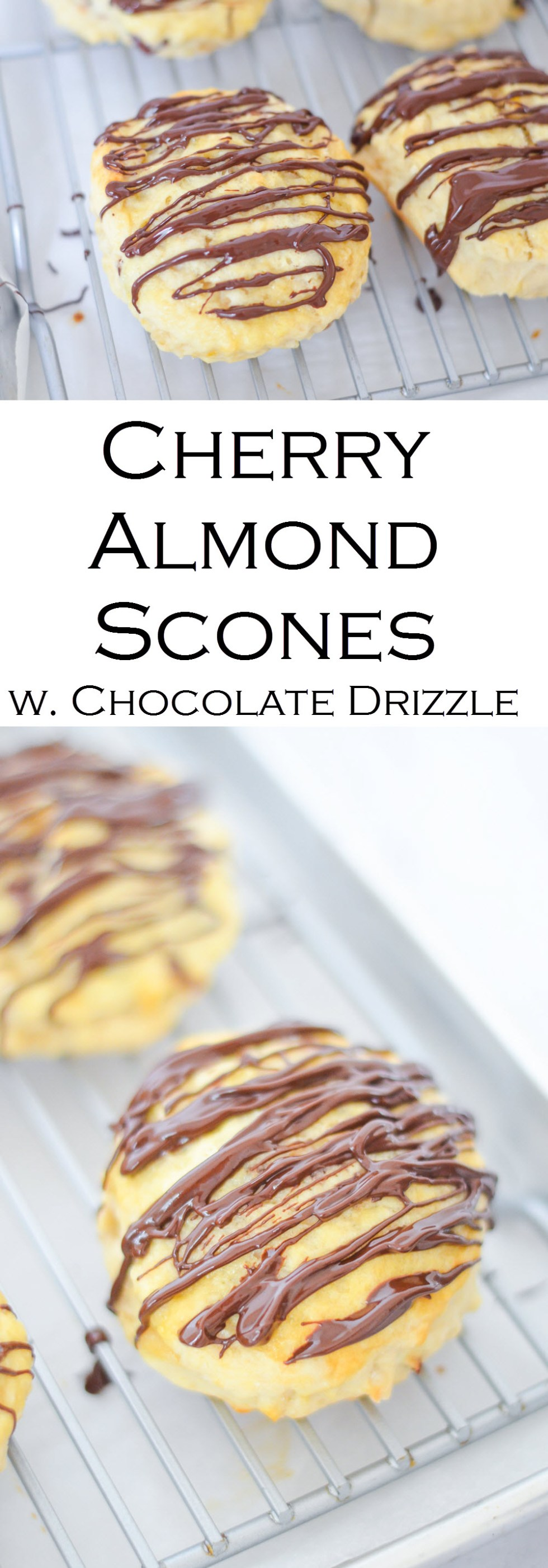 Dahlia Bakery Cherry Almond Scones w. Rich Chocolate Drizzle. #recipeblog #breakfast #brunch #scones #lmrecipes