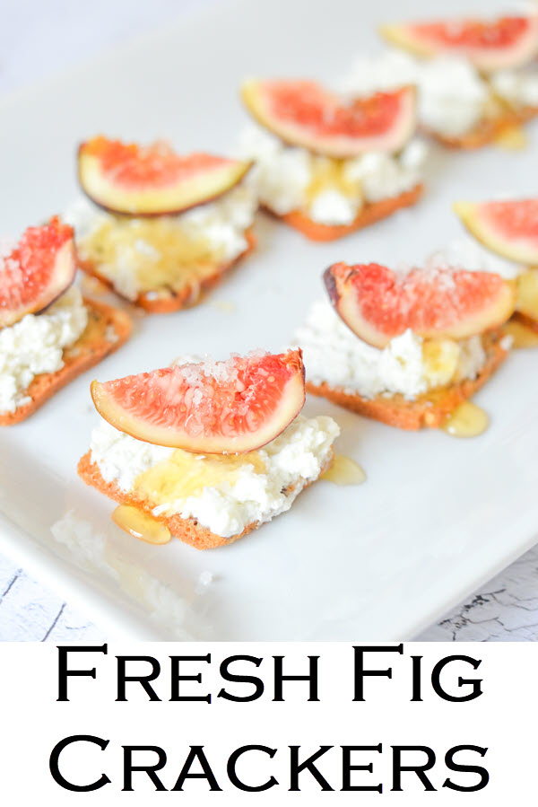 Salted Honey + Fig Crackers. This Goat Cheese Crackers + Fresh Fig Appetizer is a delicious and easy way to use fresh figs. Make on small crackers or big, this elegant cocktail party recipe is delicious!