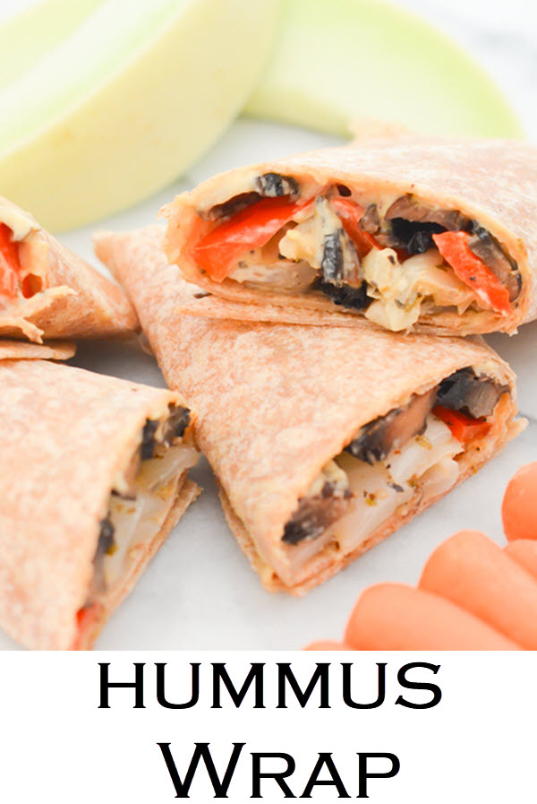 Hummus Wrap with roasted veggies. This healthy make-ahead lunch is delicious and easy. A vegan lunch recipe that everyone will love!!