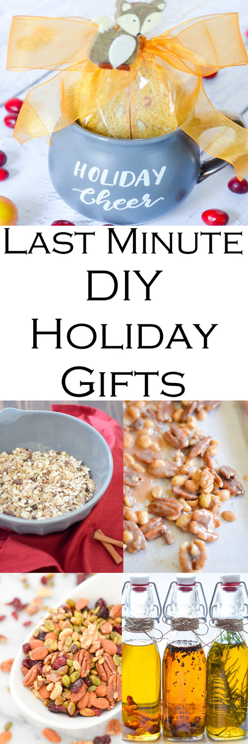 Last Minute Homemade DIY Holiday Gifts. Edible gifts you can make last minute can be the most memorable. Homemade sugared nuts, muesli, infused olive oil, and so much more with homemade gift packaging ideas.