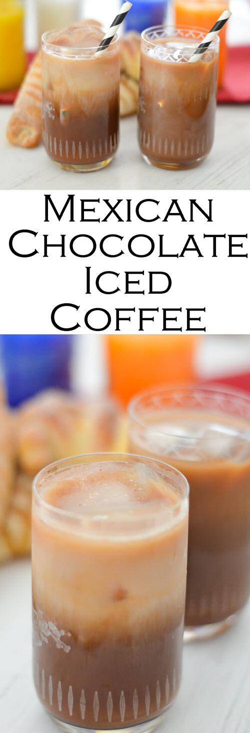 Mexican Chocolate Iced Coffee. This fun Mexican Mocha can be enjoyed hot or iced. It's the perfect Dia de los Muertos Drink or Cinco de Mayo drink.