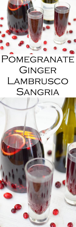 Pomegranate Ginger Lambrusco Sangria Recipe. Pomegranate Sangria Recipe. A delicious red Christmas sangria with Lambrusco wine and pomegranates.