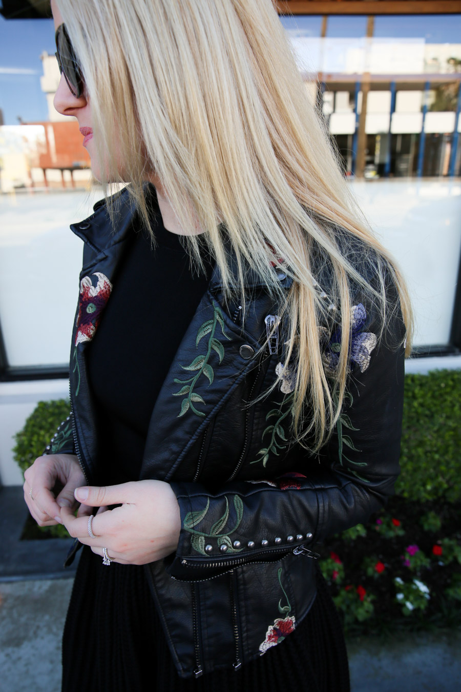Embroidered Leather Jacket with Dress Outfit for women. Spring and Fall Outfit ideas for women. How to wear a little black dress with a fun leather jacket.