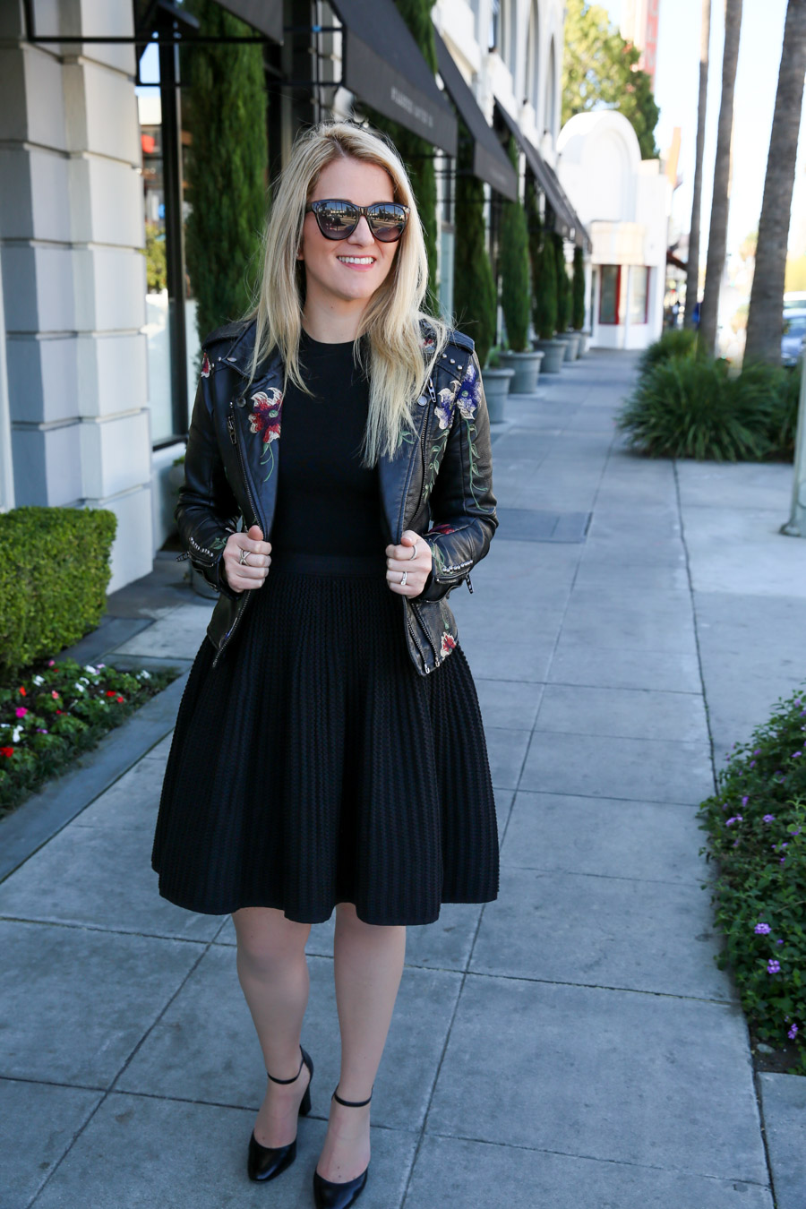 Embroidered Leather Jacket and Dress Outfit for women. Spring and Fall Outfit ideas for women. How to wear a little black dress with a fun leather jacket.