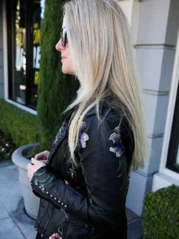 Embroidered Leather Jacket with Dress Outfit